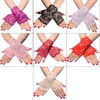 Kadın Yaz Çiçek Dantel Parmaksız Eldiven UV Güneş Koruma Sürüş Düğün Gelin Kısa Yarım Parmak Mittens