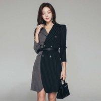 2021Hepburn Automne et hiver Robe professionnelle Température Déesse Mannequin Modèle Slim Stripe Court Costume Design