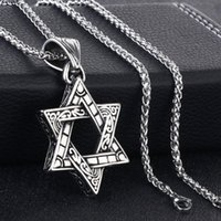 Colares pingentes antigos Israel Judaísmo Hexagrama Colar Charms Estrela da Corrente de Link de Aço Inoxidável David para Homens Jóias Presente