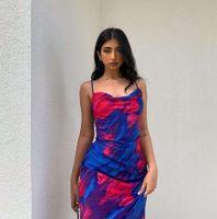 Personagem feminino impressão pilha colarinho suspender vestido mar férias graffiti longo saia cueca outono