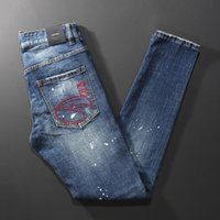 Men's Jeans Italian Style Fashion Men High Quality Retro Blue Slim Fit Ripped Embroidery Designer Vintage Casual Denim Pants