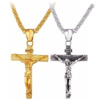 Pendant Necklaces Stainless Steel Big Jesus Cross With Long Chain Men's Gold Color Crucifix Male Religious Jewelry Drop