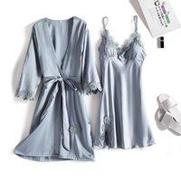 Women's Sleepwear Spring Summer Long Sleeve Women Bathrobe Suit Silk Satin Ladies Robe Two Piece Set Loose Casual Homewear