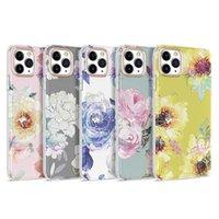 튼튼한 골드 도금 꽃 전기 도금 잔디 패턴 전화 케이스 아이폰 11 12 프로 엑스 최대 xr x 7 8 SE 소프트 TPU 쉘