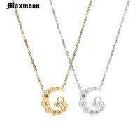 Anhänger Halsketten MaxMoon Zarte Kolaye Halskette gekrümmt Crescent Moon Gold Silber Farbe Frauen Dame Geburtstag