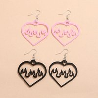 Stud 2 Pair Black Pink Big Peach Heart Hollow Out Acrylic Earrings Women Cool Fashion Flame Dangle Simple Summer Ear Jewelry