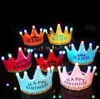 어린이 생일 파티 장식 모자 크리스마스 빛나는 왕관 모자 아기 1 년 된 장식품 생년월일 모자의 날짜 HHB9682