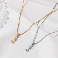 Colar de bambu on-line influenciador Ins Estilo frio Clavícula Corrente na moda Luz de luxo minoritário design simples dignificado pingente