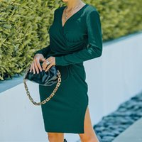 Casual Dresses Women's Solid Color Elegant Mini Dress Long Sleeve V-Neck High Waist Tie-Up Decor Slim Fitting Street Gentle Style Slit