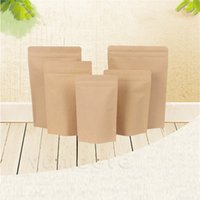 Kraft Kağıt Stand-up Çantaları 11 Boyutları Isı Mühürlenebilir Repaalable Zip Kılıfı İç Folyo Gıda Saklama Çantası Ambalaj BagZC548