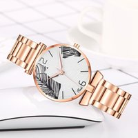 Relojes de pulsera Rosa de rosa de acero inoxidable de acero inoxidable relojes de dial de lujo de lujo de cuarzo analógico reloj reloj relogio feminino