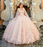Pretty Princesa 3D Flowers Pearl Detachable Cape Watteau Blush Pink Mexicano Sweet 16 Quinceanera Dress Ball Gown 2021 Spring New