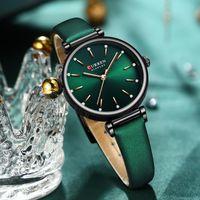 Minimalismo Mulheres Analógico Quartzo Pulso de Pulso Vintage Strap Ladies Ladies Curren Top Marca Verde Relógio Relogio Feminino