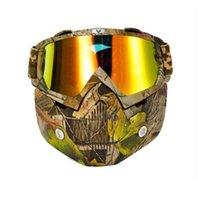 2021 Dört Mevsim Yeni Ürünler Motosiklet Kask Retro Yüz Maskesi Gözlük Motosiklet Yarım Kask Maske Sürme Anti-Sis ve Kum Maskesi Off-Road