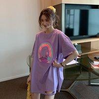 Women's T-Shirt T-shirts Tops Japanese Kawaii Ulzzang Loose Ins Broken Rainbow Print Female Korean Harajuku Clothes For Women