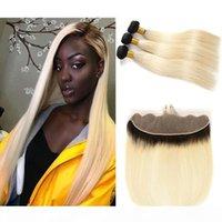 Peruano Brasileño Malasia 1B 613 Ombre Blonde Human Hair Bundles con 13x4 Free Pieza Frontal Cutícula Real Cutículas Alineadas Tejidos de pelo