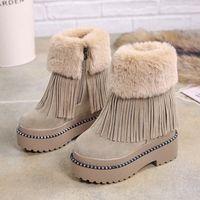 Lucyever Womens Rahat Püskül Ayak Bileği Çizmeler Sıcak Kürk Kış Tutmak Kar Botları Bayanlar Kalın Platformu Gizli Takozlar Botas Mujer M6OA #