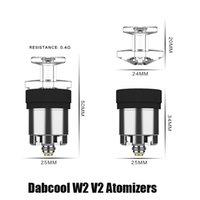本物のDabcool W2 V2 Enailアップグレード000ザ・アトマイザーHookahワックスの交換濃縮コイルヒートタンクバーダーDAB RIG vapeキット100%オリジナルVS V1