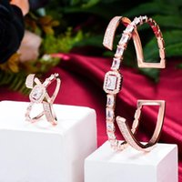 Earrings & Necklace KellyBola Jewelry Dubai Noble Fashion Full Cubic Zirconia Ladies Wedding Anniversary Bracelet Ring Set 2PCS