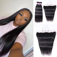 Straight 3 Bundles With Lace Frontal 13x4 Human Hair 3 Bundles With Transparent Swiss Lace 10-30 Inch Hair Extensions