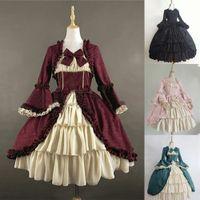 Kleider 2021 Europa Vereinigte Staaten Mittelalterliche Retro Gothic Palace Square Hals Taille Bowknot Kleid