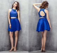 Satin Homecoming Kleider Royal Blue Elegante kurze Promkleider Backless Party Kleid Zwei Stücke Kristall Perlen High Hals ZIPEPR 2021