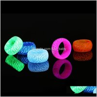 Band Rings Jewelry Style Luminous Flower Pattern Simple Resin Glow In Dark Ring Kids Party Gifts 5 Colors For Choose Drop Delivery 2021 7Zmw