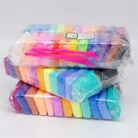 QWZ 24 Cores Fluffy Slime Brinquedos Polímero Clay Putty Clay Antistress Antistress Plasticine Slime Supplies Sandget Gum para Crianças 201226