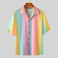 Camicia da uomo estivo colorato a strisce a strisce a manica corta a maniche corte con bottone Blusa moda Streetwear Casual Hawaiian Shirts S-5XL