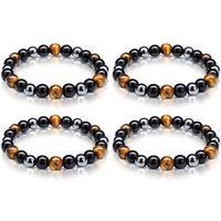 8mm 10mm Beads Magnetic Hematite Black Obsidian Charm Bracelets Men Tiger Eye Stone Wood Bead Couple Bracelet for Women Health Balance Healing Jewelry Gift