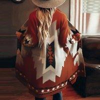 Women's Wool & Blends Boho Women Long Woolen Coat Young Fashion Loose Overcoat Geometric Stripe Color Block Patchwork Pocket Western Casual