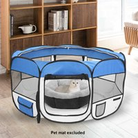 36inch Portable Pieghevole 600D Oxford Panno Ploth Pyt Pyt Pym Play Pet Player con otto pannelli Pannelli Pet Cucciolo Tenda morbida gatto gatto cassatore blu USA