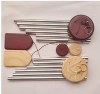 Wood metal Wind Chime small 6-Tube balcony Hangings door decoration steps and step high rising aeolian bells SN4074