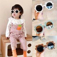 Dibujos animados niños gafas de sol niños gafas de sol niño niña oso forma redondo sol gafas lindo bebé al aire libre verano gafas sombras gafas