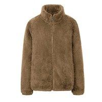 Women's Jackets Fashion Polar Fleece Autumn Winter Coat Women Jacket Shaggy Warm Cropped Overcoat Zipper Outwear Femme Veste 4XL