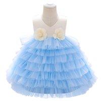 2021 새로운 꽃 아기 소녀 드레스 아기 소녀 드레스에 대 한 첫 번째 생일 드레스 공주 미인 드레스 Tiered 스커트 0-6Y 아이 의류 B3813