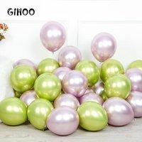 حزب الديكور gihoo 50/100 قطع 12 بوصة المعادن اللاتكس بالون ضوء الأرجواني عيد الزفاف الأخضر الكروم بالون