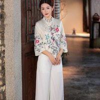 Women's Jackets Tops Fashion Coat 2021 Autumn Vintage Women Luxurious Embroidery 3 4 Sleeve Elegant White Red Coats Female XXL