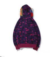 최신 애인 카모 상어 인쇄 코튼 스웨터 후드 남자 캐주얼 보라색 빨간색 카고 카디건 후드가 자켓 크기 M-2XL