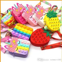DHL Fidget Toys Push Bubble Coin Purse Pencil Case Messenger Bag Mobile Phone Wallet Bags Fashion Finger Toy For Children Gifts
