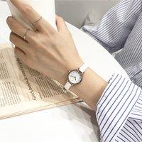 Tasarımcı Lüks Marka Saatler N's Moda Beyaz Küçük ES Ulzang Bayanlar Kuvars Bilek Ile Basit Retr Tecrte Femme Deri Bant Saati