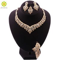 New Arrival Dubai Wedding Necklace For Women African Jewelry Sets Bracelet Earrings Ring Bridal Design Gold Color Jewelery Set H1022