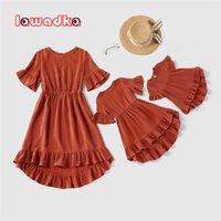 Lawadka Family look novo verão família combinando roupas roupas mamãe e eu vestidos vestido mãe e filha vestido de correspondência roupas 210317