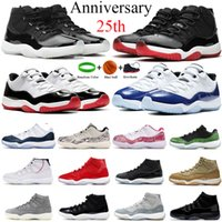 11 11s 25th Yıldönümü Düşük Beyaz Concord 45 Bred Erkekler Basketbol Ayakkabı Spor Salonu Kırmızı Gama Mavi Xi Kadın Spor Sneakers Ayakkabı 36-47