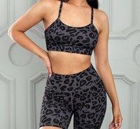 Leopardo impressão yoga esportes terno feminino verão novo estilo sutiã alta cintura boxer casual de duas peças conjunto 62073