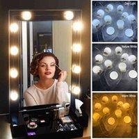 Kits de luces de espejo de estilo led de Hollywood 3 Color 10 bulbos regulables Franja de iluminación Franja de iluminación para la luz de lavado de maquillaje