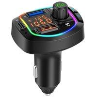 Bluetooth 5.0 Car Kit Freisprecheinrichtung FM-Sender Dual-Bildschirmanzeige Auto MP3-Player mit PD18W + QC3.0 BC66