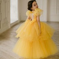 Girl's Dresses Yellow Flower Girl For Wedding Jewel Neck Short Sleeves Tiers Giels Pageant Gowns Birthday Party Wear Kids Prom Dress