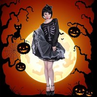 Woman Skeleton Cosplay Costume Halloween Scary Print Lace Up Tutu Dress Black Sexy Women Carnival Party Zombie Clothes H0910