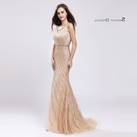 Champagne Crystal Mermaid Beading Prom Party Dress 2019 Sexy Elegant Beading Vestidos De Festa Evening Wear Formal Occasion Gown